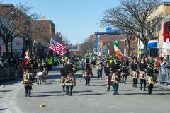 Military Bagpipers in Saint Patrick`s Day parade Boston, USA royalty free stock photos