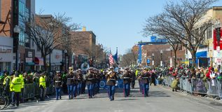 Military Bagpipers in Saint Patrick`s Day parade Boston, USA stock photography