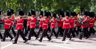 Military band belonging to the Coldstream Guards marching down The Mall during the Trooping the Colour military parade, London UK. London UK. Military band of Royalty Free Stock Photography