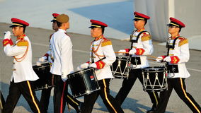 Military band drumming at NDP 2012 Stock Photo