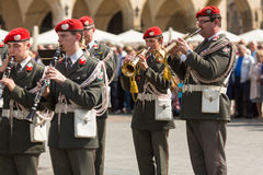 Military Band on main square of Krakow during annual Polish national and public holiday the Constitution Day. Royalty Free Stock Photography