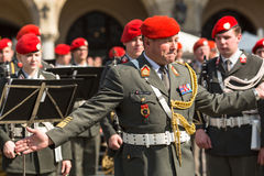 Military Band on main square of Krakow during annual Polish national and public holiday the Constitution Day. Royalty Free Stock Photos