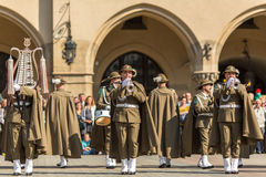 Military Band on main square of Krakow during annual Polish national and public holiday the Constitution Day Stock Photos