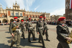 Military Band on main square of Krakow during annual Polish national and public holiday the Constitution Day. Stock Images