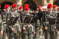 Military Band on main square of Krakow during annual Polish national and public holiday the Constitution Day. Stock Photography