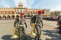 Military Band on main square of Krakow during annual Polish national and public holiday the Constitution Day Stock Photography