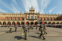 Military Band on main square of Krakow during annual Polish national and public holiday the Constitution Day. Stock Image