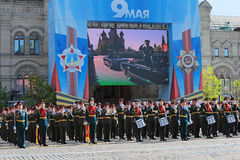 Military band. MOSCOW, RUSSIA - MAY 09, 2014: Celebration of the 69th anniversary of the Victory Day (WWII). Solemn passage of military hardware on Red Square. A Stock Image