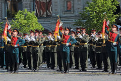 Military band. MOSCOW, RUSSIA - MAY 09, 2014: Celebration of the 69th anniversary of the Victory Day (WWII). Solemn passage of military hardware on Red Square. A Royalty Free Stock Photography