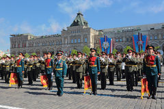 Military band. MOSCOW, RUSSIA - MAY 09, 2014: Celebration of the 69th anniversary of the Victory Day (WWII). Solemn passage of military hardware on Red Square. A Stock Photos