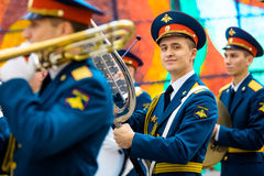 Military Band of the 154 Preobrazhensky Regiment at the Hall of Fame of the Museum of the Great Patriotic War on Poklonnaya Hill. Stock Image