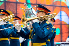Military Band of the 154 Preobrazhensky Regiment at the Hall of Fame of the Museum of the Great Patriotic War on Poklonnaya Hill. Stock Photos