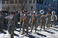 Military Band in Saint Patrick's Day Parade. Military Marching Band in St. Patrick's Day Parade - Circa 2011 Royalty Free Stock Photos