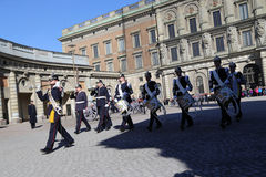 Military band of Swedish Royal Palace's Guards on performance stock photography
