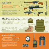 Military banners or army backgrounds set vector. Ammunition military and weapon with military uniform illustration vector illustration