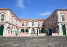 Military barracks in Queluz near National Palace. Military barracks near Palace square of the Queluz National Palace, a Portuguese 18th-century palace located at Royalty Free Stock Photos