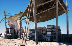 Military base, headquarters in east desert. Terrorism concept. 3d rendering. Stock Photos