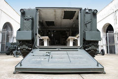 Military battlefield transport vehicle. Low angle shot from behind royalty free stock photos