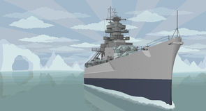Military battleship in the open ocean with glaciers vector illustration. Royalty Free Stock Image