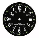 Military black clock dial. Clock dial royalty free stock photo