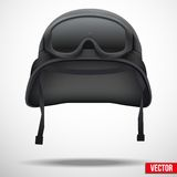 Military black helmet and goggles vector Royalty Free Stock Images
