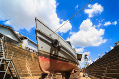 Military boat in dockyard Royalty Free Stock Images