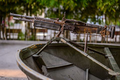 Military boat with gun. Military boat with a gun in museum in Saigon, Vietnam Royalty Free Stock Photography