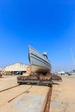 Military boat on synchrolift Stock Photo