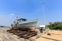 Military boat on synchrolift Stock Photo