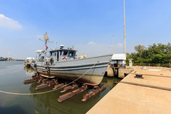 Military boat on synchrolift Royalty Free Stock Photo