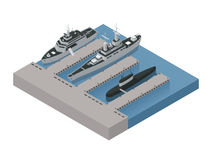 Military Boats Isometric Composition Stock Photography