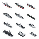 Military Boats Isometric Icon Set. Dark color military boats isometric isolated icon set for different types of troops vector illustration Stock Photography