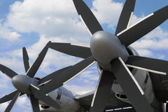 Military bomber plane. Close up view of turboprop engines with double propellers of military bomber plane for nuclear weapon Stock Photo