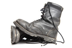 Military boots. Old military boots, white isolated Royalty Free Stock Images