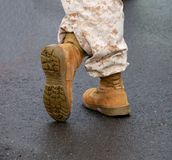 Military Boots. Marine Military Boots and Fatigues Stock Photo