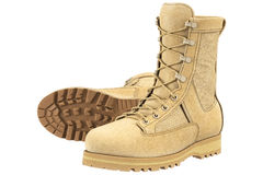 Military boots army, beige Royalty Free Stock Photos
