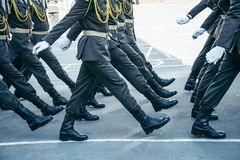 Military boots army walk the parade ground Stock Photography