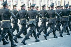 Military boots army walk the parade ground Royalty Free Stock Images