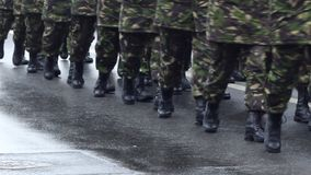 Military Boots. Close up shot of a platoon marching in cadency, wearing black army boots stock video footage