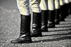 Military boots formation Stock Photo