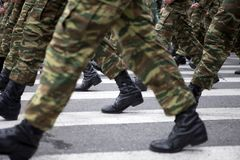 Military Boots. Greek army parades at a national holiday on Athens Royalty Free Stock Photo