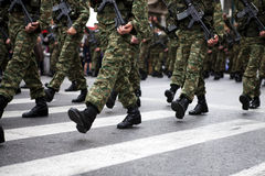 Military Boots. Greek army parades at a national holiday on Athens Stock Images