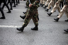 Military Boots. Greek army parades at a national holiday on Athens Stock Photos