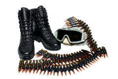 Military Boots,helmet And Bullets Stock Photo