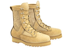 Military boots with shoelace, beige Royalty Free Stock Image