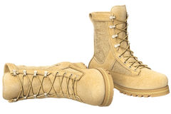 Military boots suede, beige Royalty Free Stock Photography