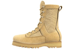 Military boots suede, side view Royalty Free Stock Image