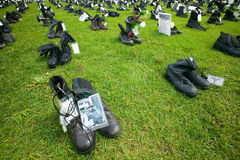 1746 Military boots symbolizing US Military Personnel killed in Iraq as displayed at Independence Hall �Eyes Wide Open� exhibi Stock Image