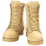 Military boots uniforms, front view Royalty Free Stock Photography