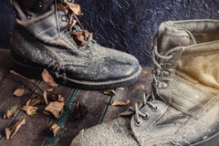 Military boots on the wooden. Stock Images